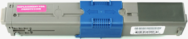 This is the front view of the Okidata 44469702 magenta replacement laserjet toner cartridge by NXT Premium toner