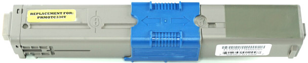 This is the front view of the Okidata 44469701 yellow replacement laserjet toner cartridge by NXT Premium toner