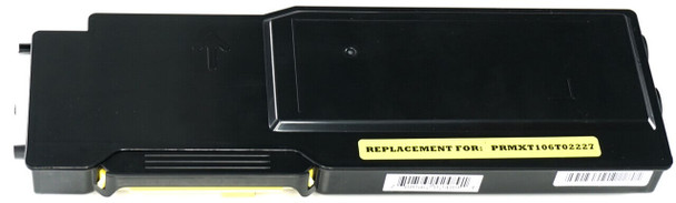 This is the front view of the Xerox 106R02227 yellow replacement laserjet toner cartridge by NXT Premium toner