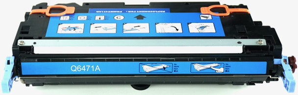 This is the front view of the Hewlett Packard 502A cyan replacement laserjet toner cartridge by NXT Premium toner