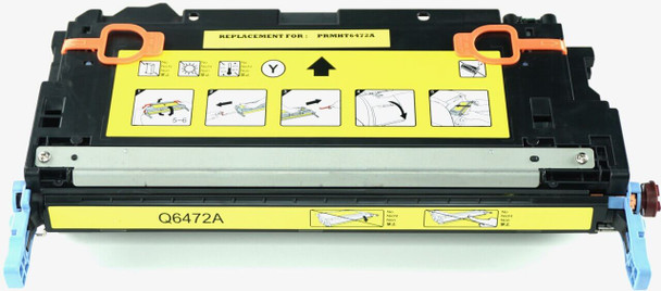 This is the front view of the Hewlett Packard 502A yellow replacement laserjet toner cartridge by NXT Premium toner
