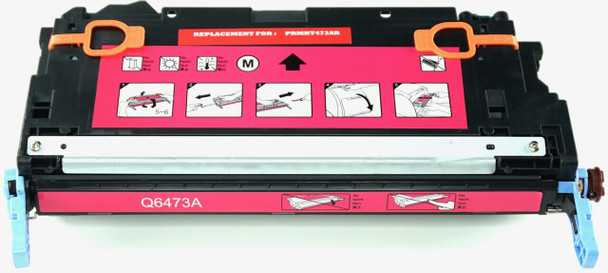 This is the front view of the Hewlett Packard 502A magenta replacement laserjet toner cartridge by NXT Premium toner