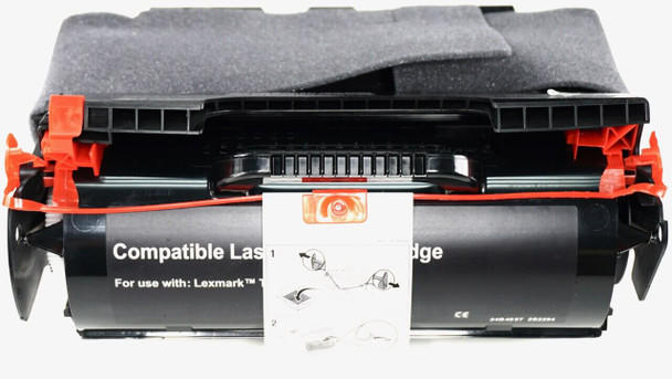 This is the front view of the Lexmark T644 black replacement laserjet toner cartridge by NXT Premium toner