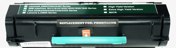 This is the front view of the Dell M797K black replacement laserjet toner cartridge by NXT Premium toner