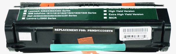This is the front view of the Dell NF555 black replacement laserjet toner cartridge by NXT Premium toner