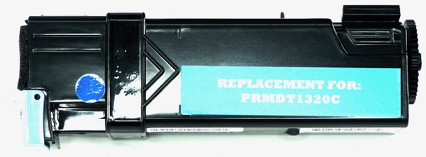 This is the front view of the Dell KU051 cyan replacement laserjet toner cartridge by NXT Premium toner