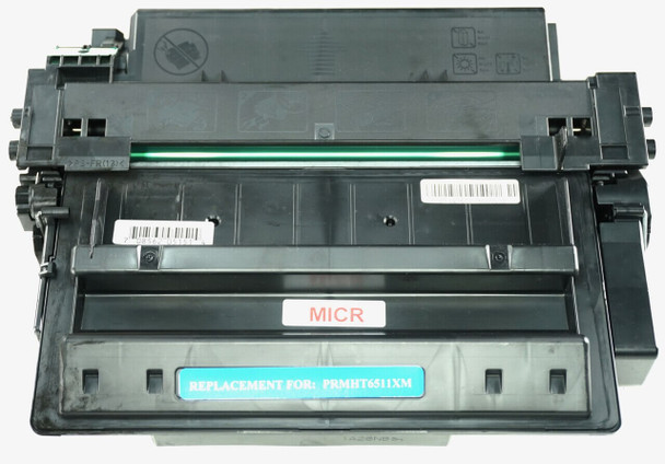 This is the front view of the Hewlett Packard 11X MICR replacement laserjet toner cartridge by NXT Premium toner