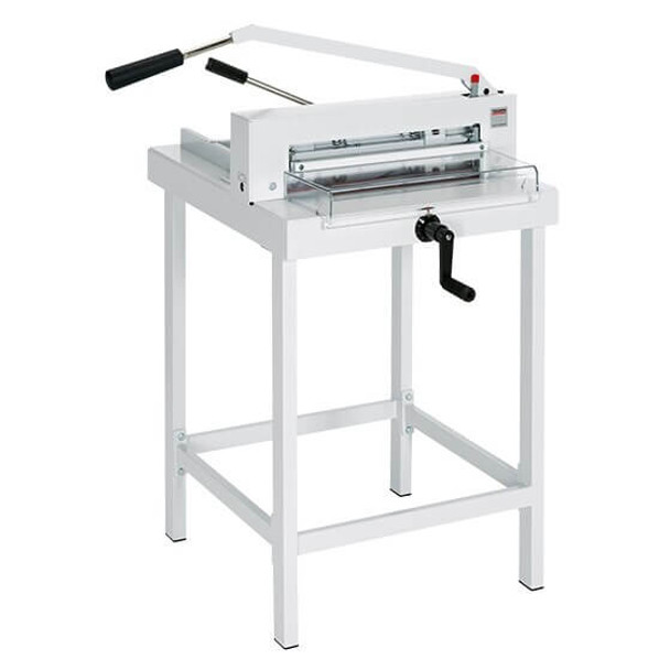 This is the MBM Triumph 4305 paper cutter with the stand. It is facing to the right to show off all angles of the machine.