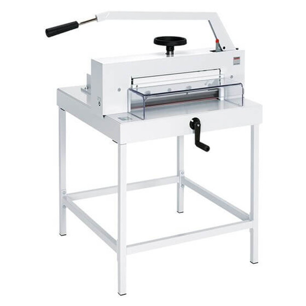 This is the MBM 4705 paper cutter. It is a manual tabletop cutter with an 18 3/4-inch cutting width and fast-action clamp. SCS™ features ensure operator safety.