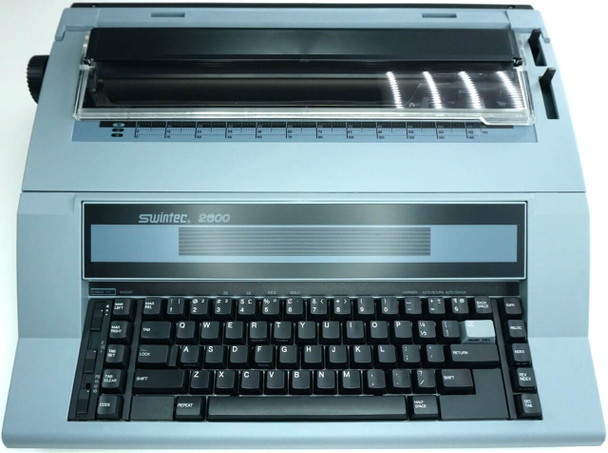 Front view of the Swintec 2600 typewriter.