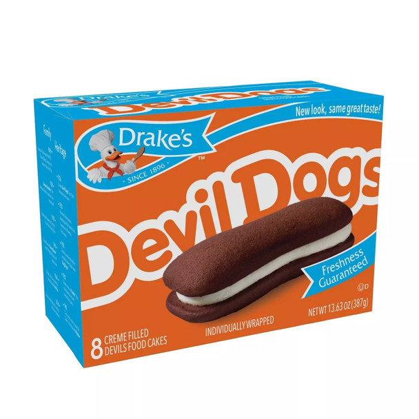Right side view of one box of Drake's Devil Dogs