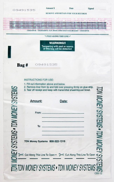 "Tamper-Evident Currency, Document and Ticket Transporting Bags, 9"" x 12"", 2.5mm Thick, Sequential Numbering (5,000 Bags)"