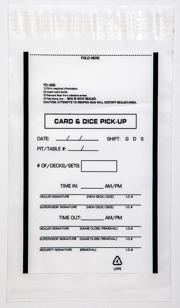 "Tamper-Evident Card And Dice Pick-Up Bags, Printed, 6"" x 9"", 2.5mm Thick (4,000 Bags)"