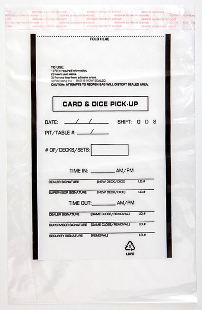 "Tamper-Evident Card And Dice Pick-Up Bags, 10"" x 14"", 2.5mm Thick (1,000 Bags)"