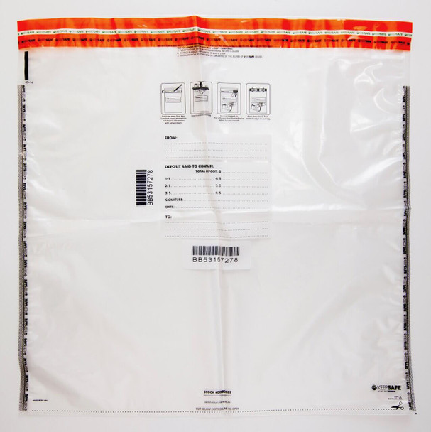 "AMPAC Tamper-Evident Deposit Bags, 20"" x 20"", 2.5mm Thick, Size F Bag, 12 Bundle Capacity (250 Bags)"