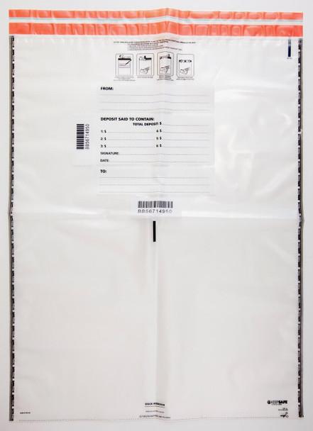 "AMPAC Tamper-Evident Deposit Bags, 20"" x 28"", 4mm Thick, Size H Bag, 16 Bundle Capacity (100 Bags)"