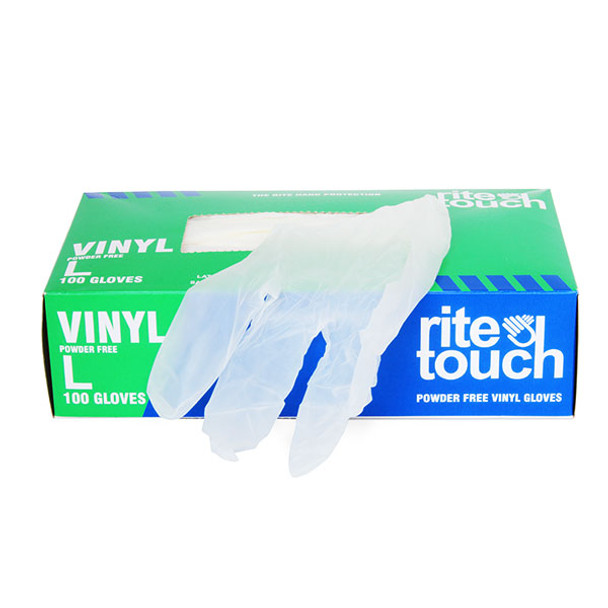 Rite Touch Vinyl Gloves | 8 mil Thick, Powder-Free, Non-Sterile, Heavy Duty Disposable Gloves | Medical, Food Handling 100-pack box