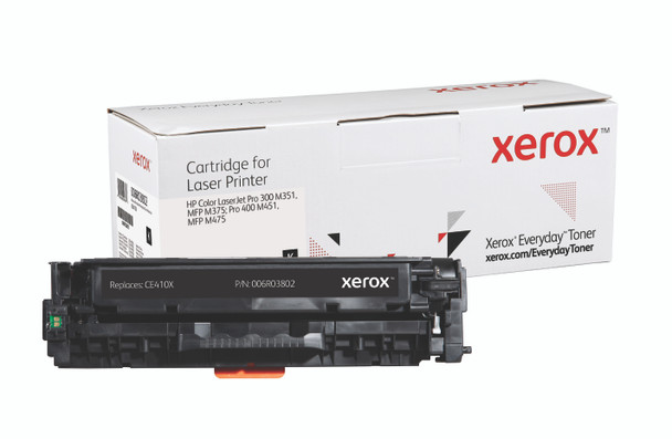 Black High Yield Everyday Toner from Xerox, replacement for HP CE410X Yields 4,000 pages