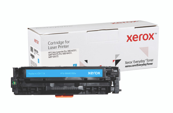 Cyan Standard Yield Everyday Toner from Xerox, replacement for HP CE411A Yields 2,600 pages