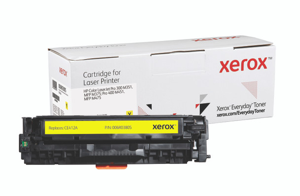 Yellow Standard Yield Everyday Toner from Xerox, replacement for HP CE412A Yields 2,600 pages