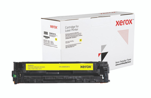 Yellow Standard Yield Everyday Toner from Xerox, replacement for HP CF212A, CB542A, CE322A, Canon CRG-116Y, CRG-131Y Yields 1,800 pages