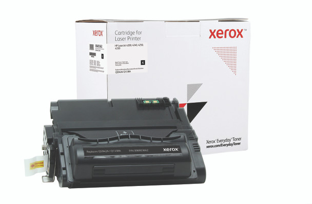 Black Standard Yield Everyday Toner from Xerox, replacement for HP Q5942A, Q1338A Yields 10,000 pages
