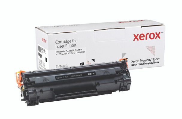 Black Standard Yield Everyday Toner from Xerox, replacement for HP CF283A Yields 1,500 pages