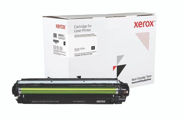 Black Standard Yield Everyday Toner from Xerox, replacement for HP CE340A, CE270A, CE740A Yields 13,500 pages