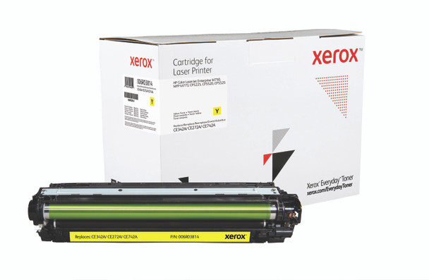 Yellow Standard Yield Everyday Toner from Xerox, replacement for HP CE342A, CE272A, CE742A Yields 16,000 pages
