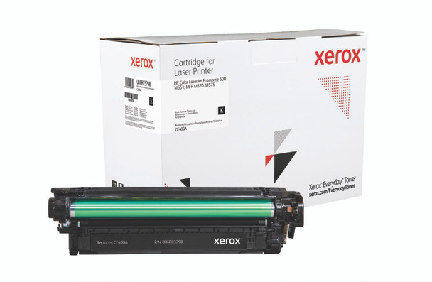 Black Standard Yield Everyday Toner from Xerox, replacement for HP CE400A Yields 5,500 pages