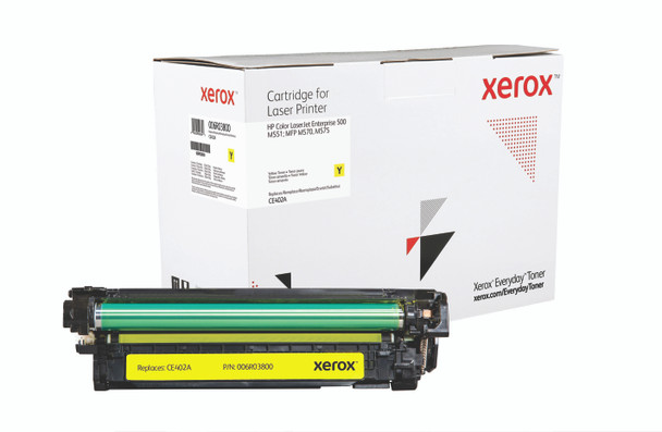 Yellow Standard Yield Everyday Toner from Xerox, replacement for HP CE402A Yields 6,000 pages