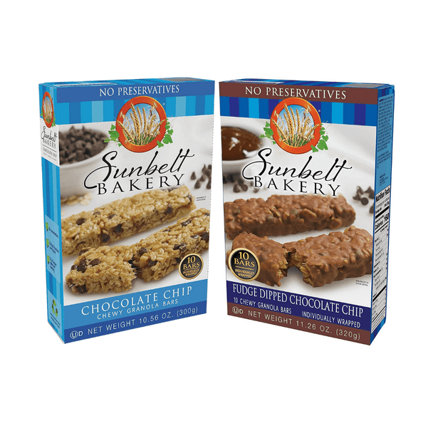 Sunbelt Chocolate Chip Collection features three boxes of Chocolate Chip and Fudge Dipped Chocolate Chip Granola Bars. That is six boxes in total per order.