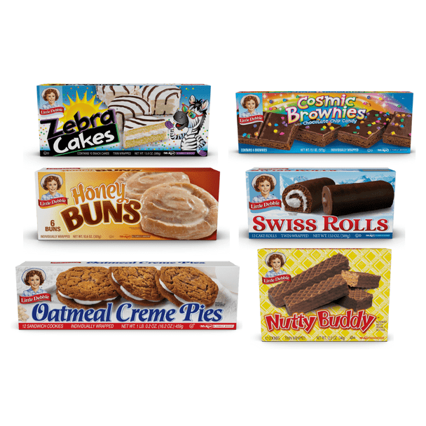 The Little Debbie Bundle Pack features one box each of Nutty Buddy, Oatmeal Crème Pies, Swiss Rolls, Zebra Cakes, Cosmic Brownies, and Honey Buns
