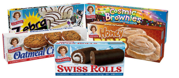 Little Debbie Variety Pack includes one box each of the following: Swiss Rolls, Zebra Cakes, Honey Buns, Oatmeal Creme Pies, and Cosmic Bownies