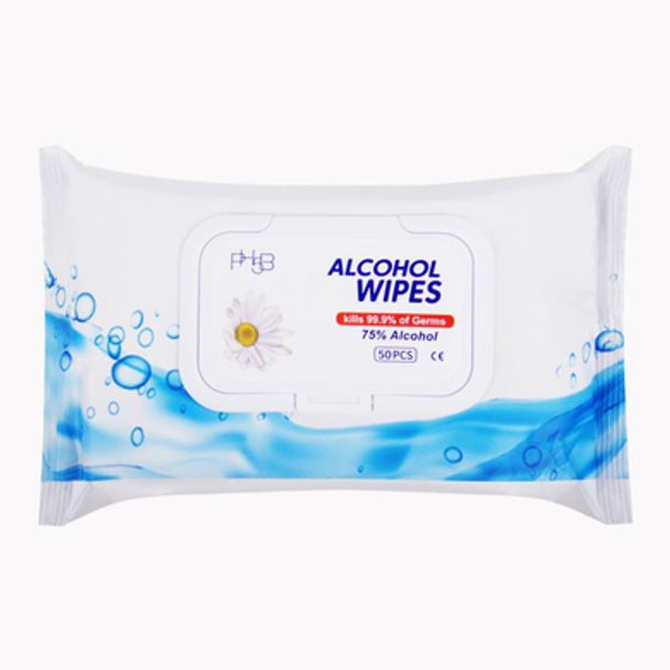 PH5B 75% Alcohol Wipes for Disinfecting Surfaces and Hands (unscented), 50-Wipes Per Soft Package