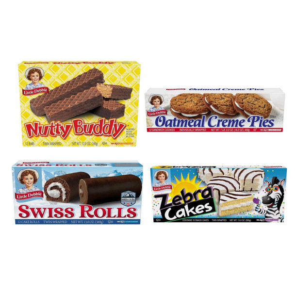 Little Debbie Variety Pack includes four boxes - one box each of Nutty Buddy, Oatmeal Creme Pies, Swiss Rolls, and Zebra Cakes