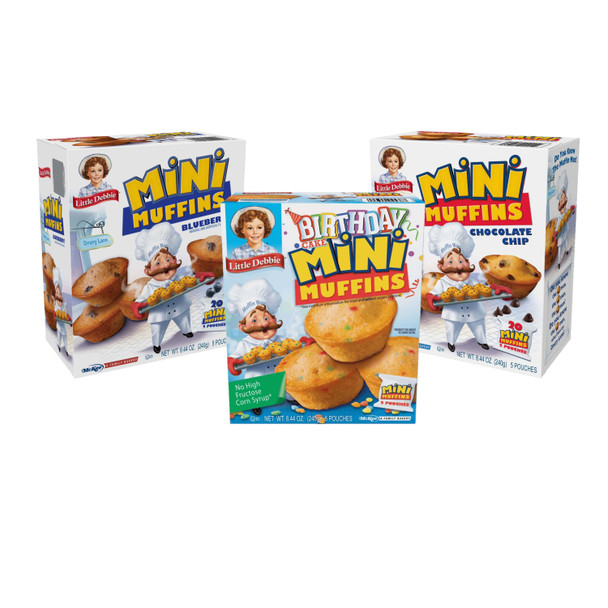 Little Debbie Mini Muffin Variety Pack includes 1 box each of Birthday Cake, Blueberry, and Chocolate Chip Mini Muffins