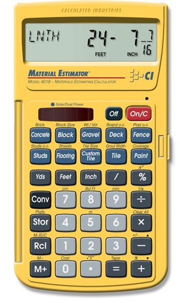 Front face of the Material Estimator