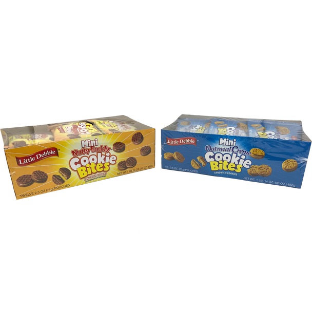 Our Little Debbie Mini Cookie Bites Variety Pack features two boxes of fan favorite flavors - Nutty Buddy and Oatmeal Creme