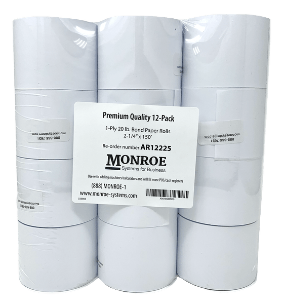 "Monroe AR12225 2 1/4"" x 150' Exclusive 20 Lb. Single-Ply Printing Calculator Paper Rolls (12-Rolls)"