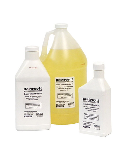 Three different sizes of MBM Destroyit Shredder Oil-- pint, quart and gallon