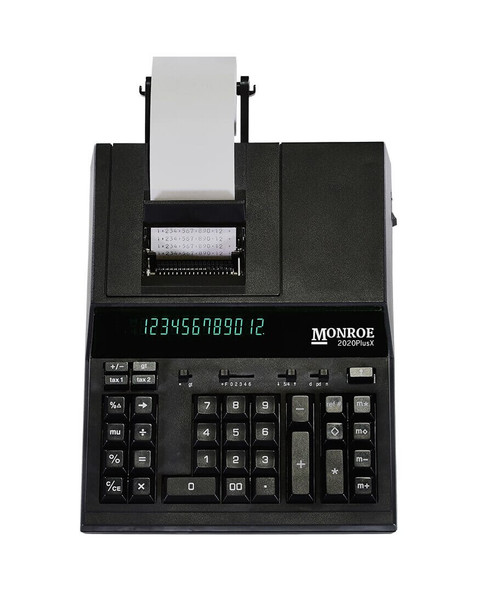 Top view of Monroe 2020plusX Black Printer Calculator/Adding Machine