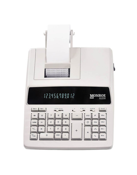 Top view of Monroe 6120X Ivory Print Calculator/Adding Machine