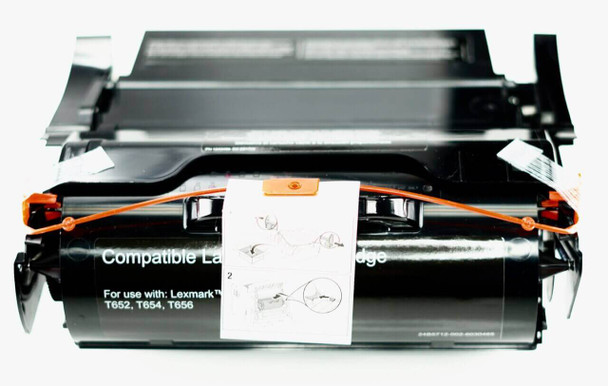This is the front view of the Lexmark T650 black replacement laserjet toner cartridge by NXT Premium toner