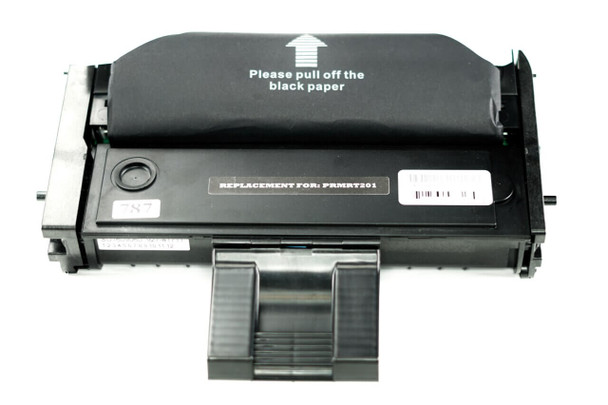This is the front view of the Ricoh Aficio 407259 black replacement laserjet toner cartridge by NXT Premium toner