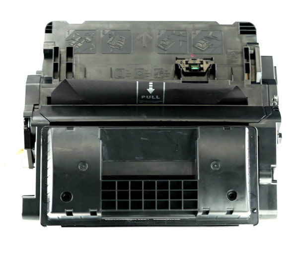 This is the front view of the Hewlett Packard 64X black replacement laserjet toner cartridge by NXT Premium toner