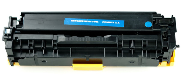 This is the front view of the Hewlett Packard 305A Cyan replacement laserjet toner cartridge by NXT Premium toner
