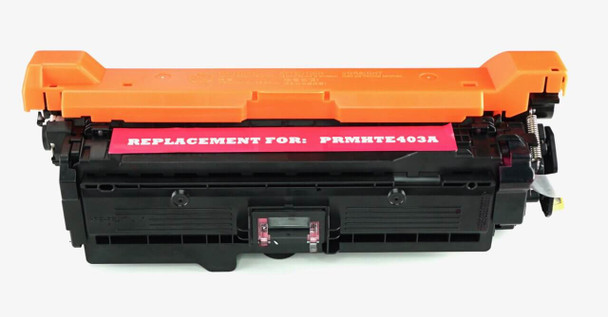 This is the front view of the Hewlett Packard 507A Magenta replacement laserjet toner cartridge by NXT Premium toner