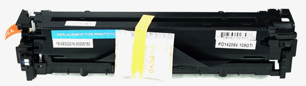 This is the front view of the Hewlett Packard 131A cyan replacement laserjet toner cartridge by NXT Premium toner