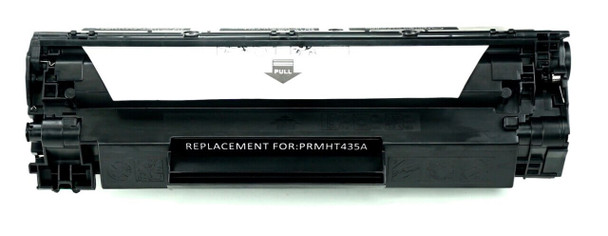 This is the front view of the Hewlett Packard 35A black replacement laserjet toner cartridge by NXT Premium toner